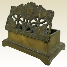 Vintage Ornate Brass Stamp Box