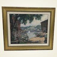 Thomas R. Curtin (VT 1899-1977) Rockport Harbor  Oil on Board