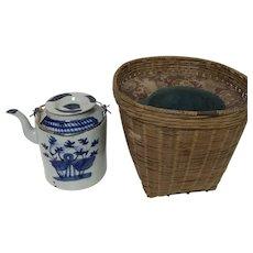 Antique Chinese Porcelain Teapot With Original Shipping Basket Blue Bird Decor
