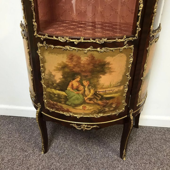 Vintage French Curve Front Curio Cabinet W/ Ormolu Decoration - Vintage  French Curve Front Curio - Antique French Curio Cabinets Antique Furniture