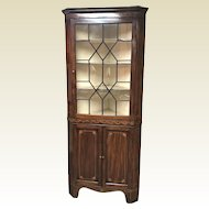 19th Century Mahogany Inlaid Corner Cabinet W/ Nice Banded Inlay Work