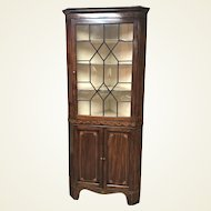 19th Century Mahogany Inlaid Corner Cabinet W/ Nice Banded Inlay Work