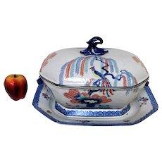 Mottahedeh Porcelain Large Covered Tureen W Under Platter Bird Japanese Mot40