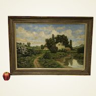 Original Antique George W. Drew American (1875-1968) Country Landscape Oil Painting