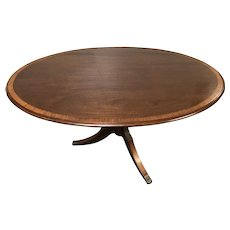 19th C English Mahogany Pedestal Oval Inlay Banded Tilt Top Breakfast Table