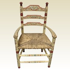 Tole Folk Art Painted Rush Seat Child's Arm Chair Rosemaling Design