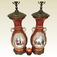 Pair of French Old Paris Porcelain Vase Lamps W/ Egyptian King Pyramid Hand Painted Decoration