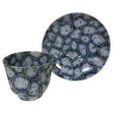 Rare Pattern J. & G. Alcock Flow Blue English Cup & Saucer