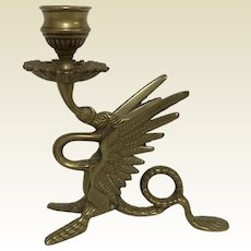 Vintage Brass Winged Dragon Candlestick