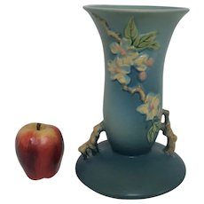 Roseville Pottery Apple Blossom 10.25 Vase in Blush Blue Glazes 388-10