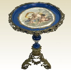 19th C Ornate Brass French Porcelain Top Pedestal Side Table W/ Putti Cherub Decoration