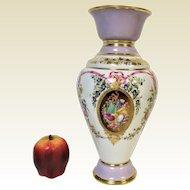 Large Old Paris Porcelain Flower Vase With Lavender Gold Flower Rose Decoration