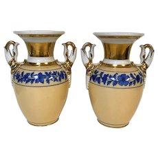 Pair of Old Paris Porcelain Vases with Swan Neck Handles