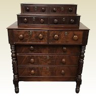 Rare Flame Mahogany Empire Double Deck Chest of Drawers