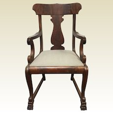 Circa 1830's Mahogany Empire Scrolled Arm Claw Foot Arm Chair