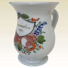 Victorian Painted Milk Glass Remember Me Forget Me Not Cup Mug W/ Applied Handle