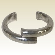 Mexican Sterling Cuff Bracelet Hammered Finish