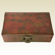 Chinese Republican Red Lacquered Pigskin Trinket Valuable Wooden Box
