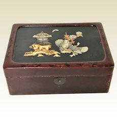 Vintage Red Lacquered Wooden ware Box W/ Mother Pearl Decoration of Birds Flowers