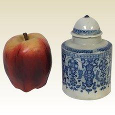 19th Century English Blue Transferware Porcelain Tea Caddy