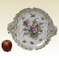 Beautiful Dresden Platter W/ Hand Painted Flowers