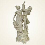 "10"" Bisque Parian Ware Figurine of Dancing Couple"