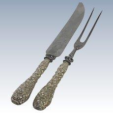 Kirk & Son Sterling Repousser Carving Knife & Fork Set