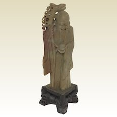 "8"" Tall Vintage Oriental Chinese Soapstone Carving of Immortal Scholar"