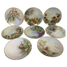 Set of 8 Hand Painted Fruits French Limoges Porcelain Salad Dessert Plate Artist Signed