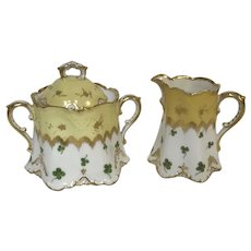 Fine German Porcelain Gold Yellow Clover Decorated Creamer & Sugar Bowl