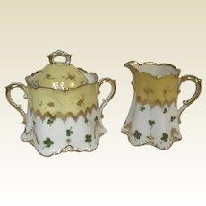 Fine German Porcelain Gold Yellow Clover Decorated Creamer & Sugar Bowl