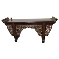Large Antique Chinese Elm Red Lacquer Altar Table
