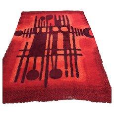 Mid Century Ege Rya Red Wool Shag Carpet 9' x 6'