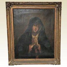 Large Circa 1800 Italian School Oil on Canvas of Madonna Painting