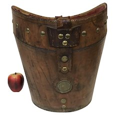 Large Antique Leather Bucket W/ Brass Decoration