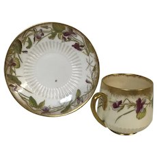Antique George Jones & Sons Stoke Crescent Floral Demitasse Cup & Saucer