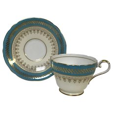 Aynsley bone China Cup & Saucer With Blue & Gold Decoration