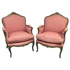 Pair of Large Early 1900's French Louis XV Bergeres Arm Chairs W/ Down Filled Cushions