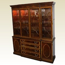 Mahogany Breakfront China Cabinet by Hickory Chair Co. W/ Banded Inlaid