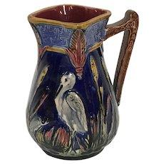 English Cobalt Blue Majolica Pitcher W High Relief Blue Heron Decoration