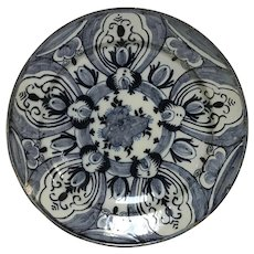 Large 18th Century Delft Blue & White Charger in Tulip Pattern