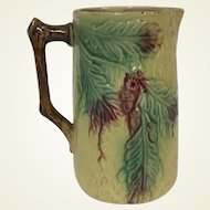 Antique Majolica Milk Pitcher W/ Relief Decoration