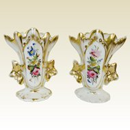 Pair of Paris Porcelain Hand Painted Flowers Spill Vases