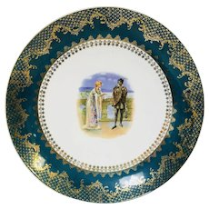 """Antique Shakespeare Large Charger Plate Royal Vienna Style Hamlet Ophelia Gold Encrusted 13.5"""""""