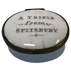 "18th C.  English Battersea Bilston Enamel Patch Box ""a Trifle From Spitsbury"""