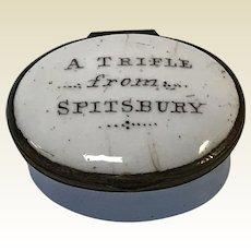 "18th C.  English Battersea Bilston Enamel Patch Box ""a Trifle From Spitsbury"""