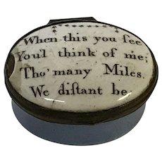 "18th C.  English Battersea Bilston Enamel Patch Box ""You'l Think of Me"""