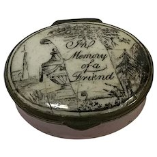 "18th C.  English Battersea Bilston Enamel Patch Box ""In Memory of a Friend"""