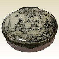 "18th C.  English Battersea Bilston Enamel Patch Box ""In Memory of a Friend"""