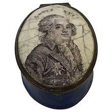 """18th C.  English Battersea Bilston Enamel Patch Box """"Louis XVI"""""""